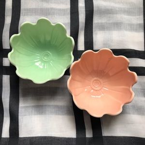 Vintage Set Flower Milk glass Bowls